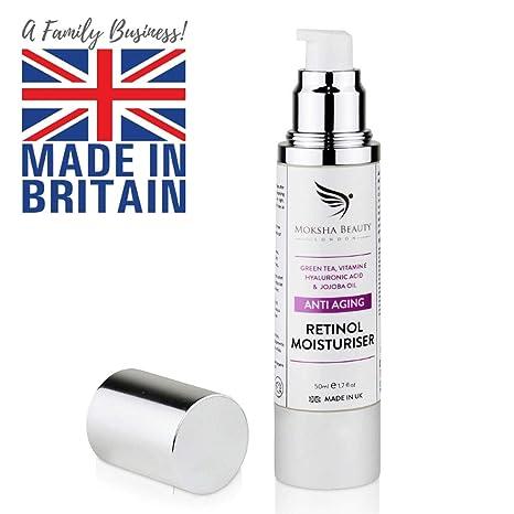 Crema Hidratante Anti-Edad con Retinol Para Cara - 50ml Natural [Made in U.K] Crema Día y Noche para cualquier tipo de piel Cuello y Escote Fórmula ...