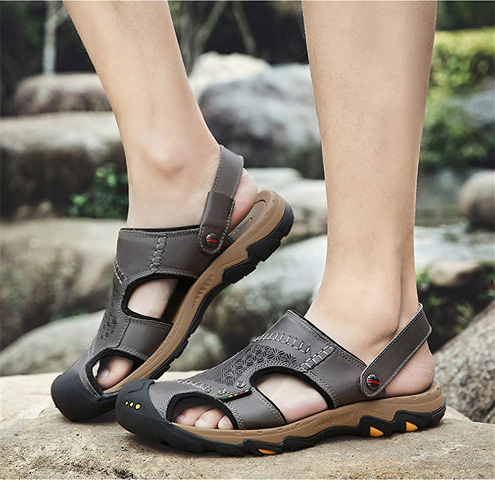 Black,Lable 40//7 D Mens Leather Sandals Comfortable Soles Breathable Button Closure US Men M