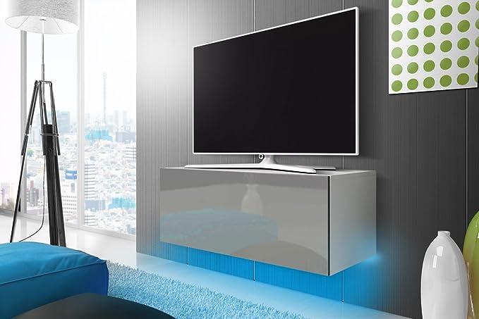 TV Schrank Lowboard Hängeboard SIMPLE mit LED Blau (Weiß Matt / Grau Hochglanz 100 cm)