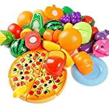 Kitchen Toys Fun Cutting Fruits Vegetables Pretend Food Playset for Children Girls Boys Educational Early Age Basic Skills Development 24pcs Set by Kimicare