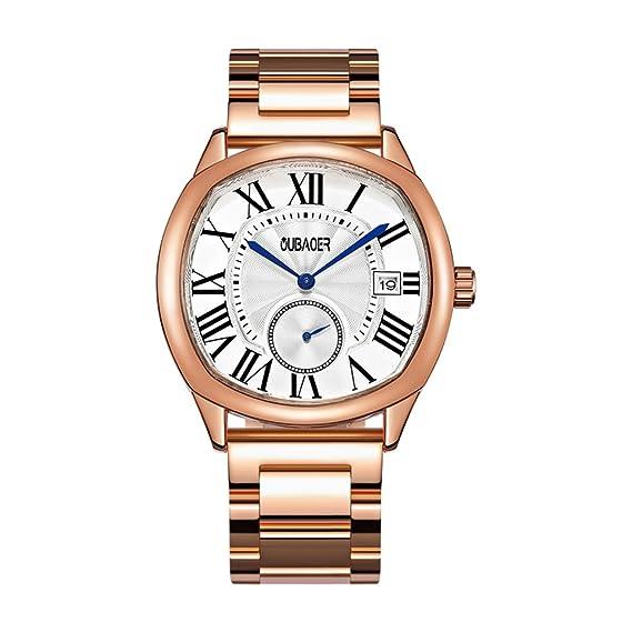 Relojes de Cuarzo para Hombre Reloj de Moda Impermeable para Todo Acero. (Color :