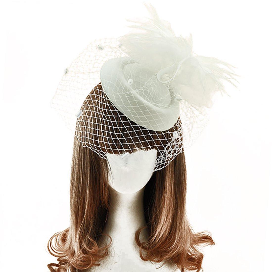 Fascinators Hat for Woman Elegant Feathers Flower Hat Mesh Headband Hair Clip - Beige