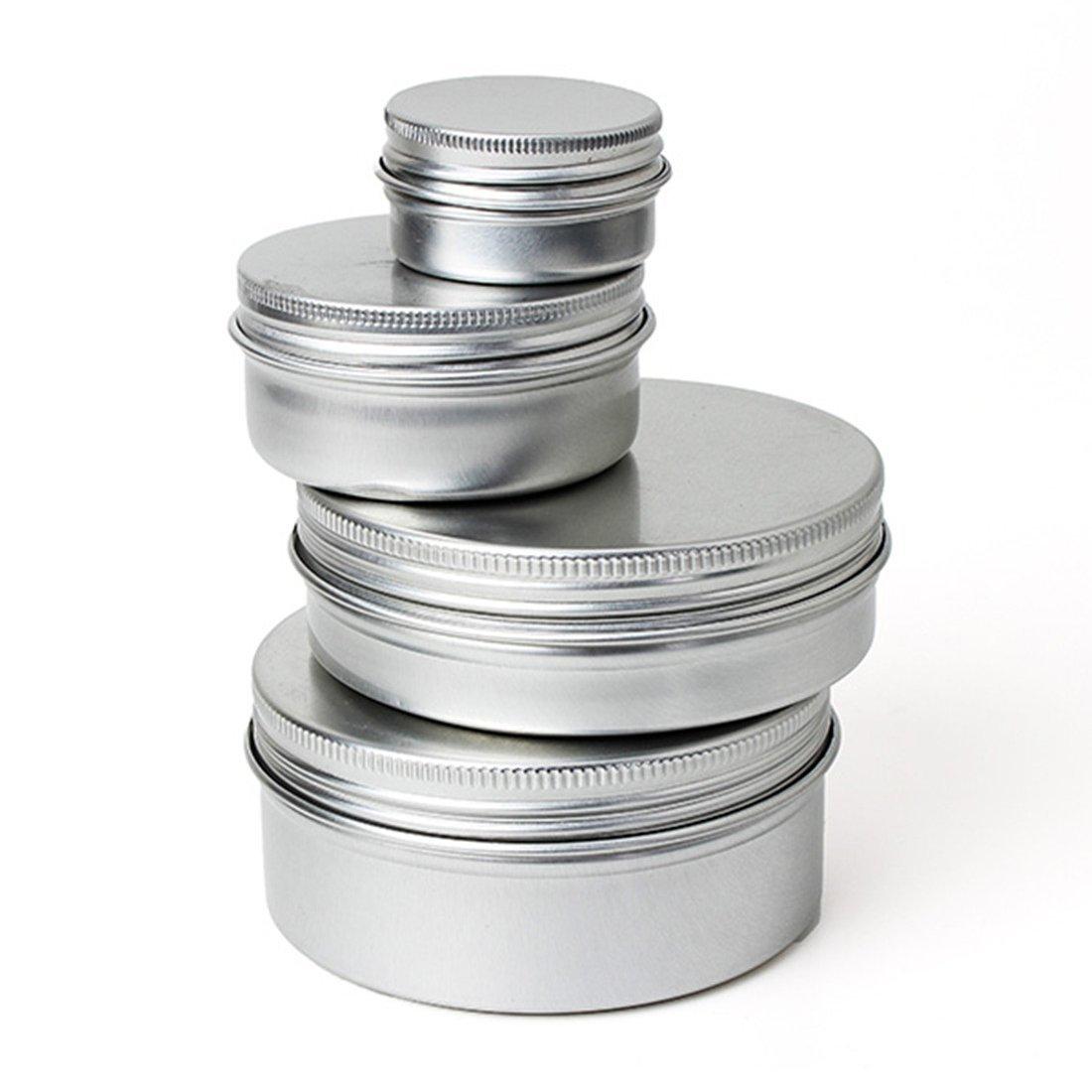 Cosmetic travel Container - SODIAL(R) 10pcs Aluminium Nail Art/Cosmetic/Travel/Cream Pot Jar Tin Balms Container Round (50ml) 059196