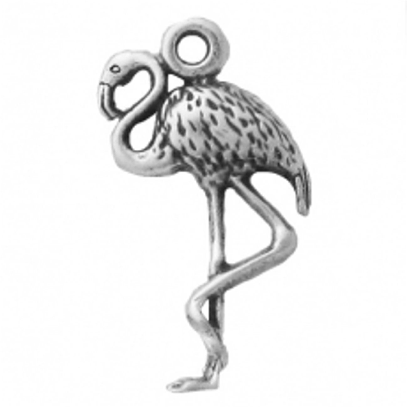 Sterling Silver Womens 1mm Box Chain Mini Flamingo Standing On One Leg Pendant Necklace