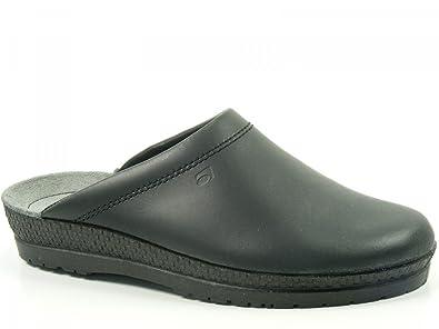 8f5c2c2c9264 Rohde Herren Hausschuhe Pantoffeln Leder Clogs schwarz 1515-90,  Schuhgröße 39, Farbe