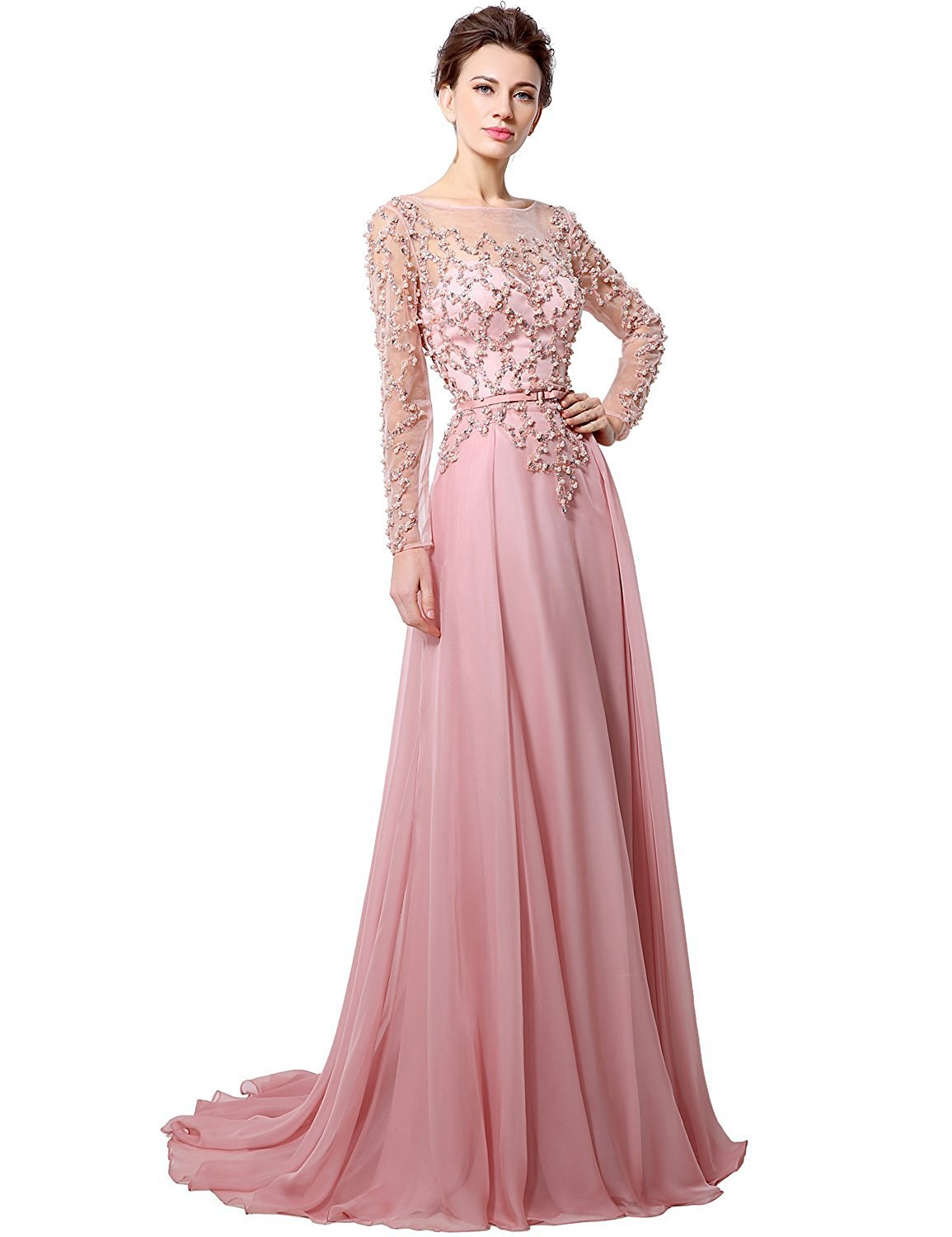 Anmor Chiffon Mother of The Bride Groom Formal Wedding Dresses Long Sleeves Party Evening Gown Pink US8