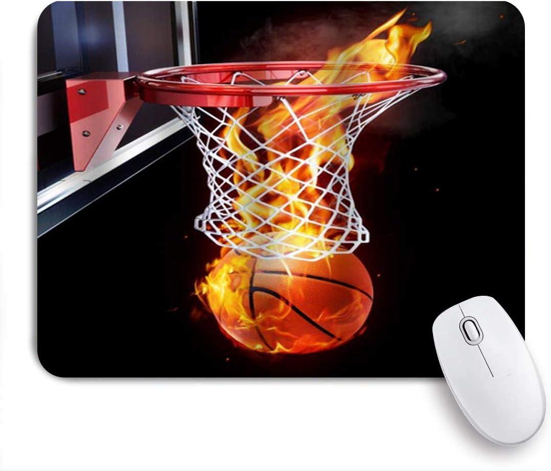 VORMOR Alfombrilla Raton Baloncesto Basket Net Backboard Fire Score Alfombrilla Gaming Alfombrilla para computadora con Base de Goma Antideslizante,240×200×3mm