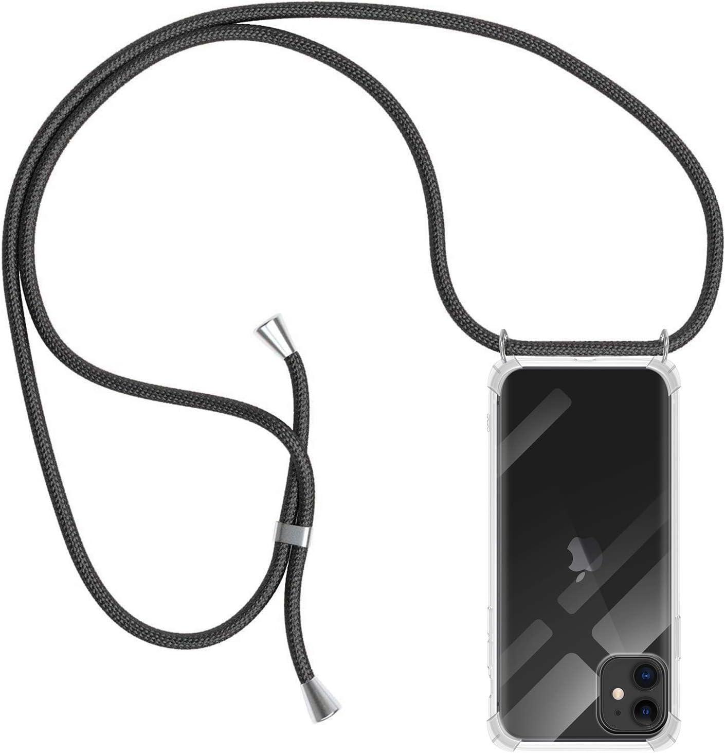 MICASE Funda con Cuerda para iPhone 11, Carcasa Transparente TPU Suave Silicona Case con Correa Colgante Ajustable Collar Correa de Cuello Cadena Cordón para iPhone 11 6.1'' - Negro