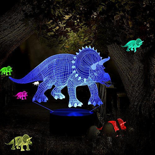 Lamp Childrens Dinosaur (Dinosaur Toy Night Lights for Kids Birthday Gifts Optical Illusion Desk Lamp Table Touch Nursery Triceratops Walking Animals Party Western Children Room Decor 7 color USB Boys Adult Easter Gifts)