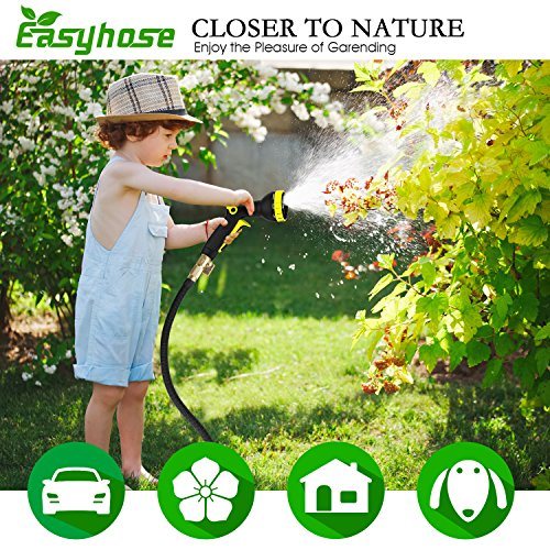 Easyhose Hose Pipe Black 50FT Stronger Double Latex Inner Tube Garden Hose Solid Brass Prevent Leaking Strongest Expandable (With Valve) Garden Water Hose with Extra Strength Fabric and Professiona