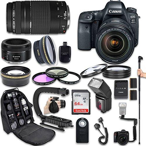 UPC 763979502035, Canon EOS 6D Mark II DSLR Camera with Canon EF 24-105mm f/4L IS II USM Lens + Canon EF 75-300mm f/4-5.6 III Lens + Canon EF 50mm f/1.8 STM Lens + Fully Dedicated TTL Flash (23 items kit)