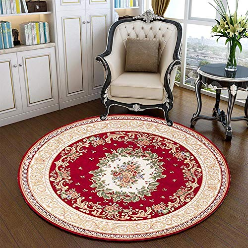 - Hihome Noble Red Floral Formal Traditional 4' Round Area Rug for Christmas Home Decor Easy to Clean Stain Fade Resistant Modern Contemporary Transitional Soft Living Dining Room Rug Shag Rug