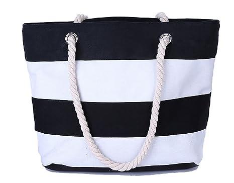 Bolsa de playa de rayas grandes Bolsa de tela con cremallera ...