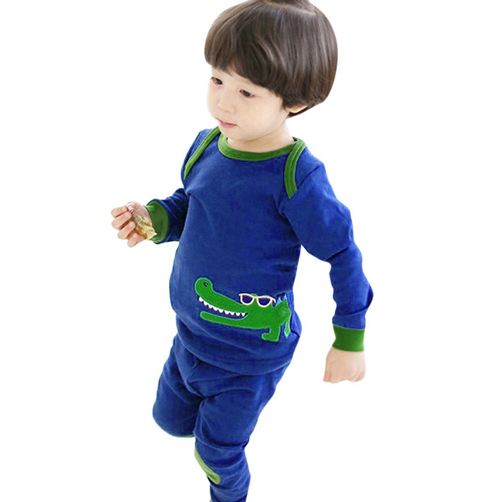 Suma-ma Dinosaur Animal Print Long Sleeve Tops+Pants Pajamas Home Outfits Nightclothes for Kid Baby Boy (6T, Blue)