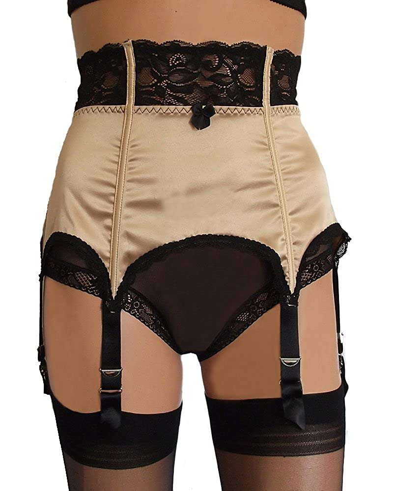 6 Strap Suspender Belt in Satin & Lace Available in Black, Gold and Ivory