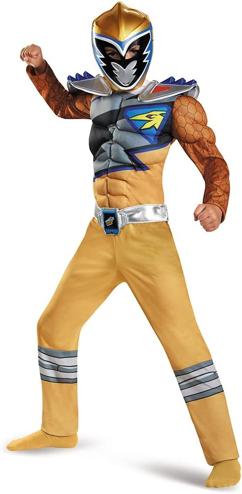 Disguise Gold Ranger Dino Charge Classic Muscle Costume, Medium (7-8)