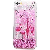 Mlorras iPhone 5S Hülle,iPhone SE Hülle, Ultradünnen Weich Flexibel Anti-Kratzer Stoßfest Flüssig Bewegende Treibsand Transparent Silikon TPU Schutzhülle Bumper Handyhülle Rosa Blumenflamingo