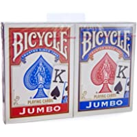 Bicycle Jumbo Index Rider Back Playing Cards, Red and Blue, 2 Count