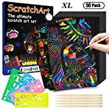 HIMIMO Scratch Paper Art Set for Kids, 50 PCS Rainbow Scratch Art Set Size A4 with 5 Wooden Styluses and 4 Drawing Stencils for DIY Kids Art Craft Easter Party Game Christmas Birthday Gift (Color: A4)