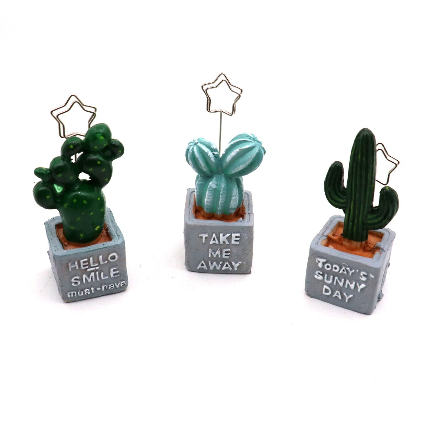 HUELE 3 Pcs Resin Cactus Bonsai Shape Name Card Holder Photo Clip Note Memo Stand Table Decoration Clamps Stand for Office Supplies Accessories