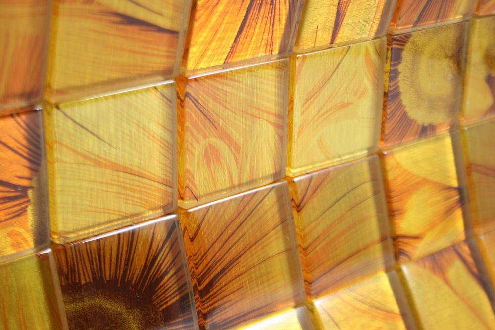 Glossy Sun Flower Square Glass Mosaic Tiles for Bathroom and Kitchen Walls Kitchen Backsplashes