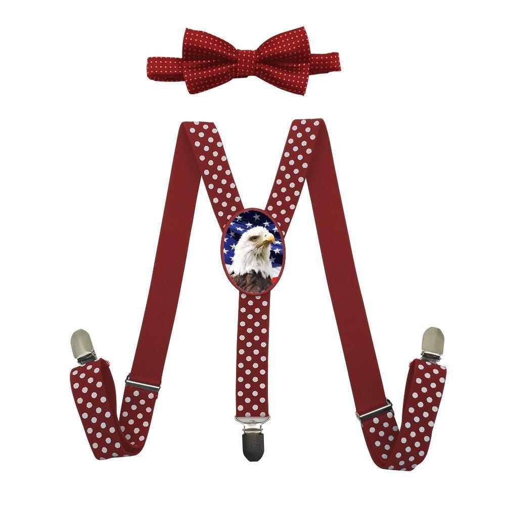 Qujki American Bald Eagle Suspenders Bowtie Set-Adjustable Length