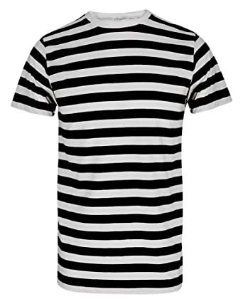 1681b3c418 MEN'S BOYS RED & WHITE STRIPED STRIPE T-SHIRT BLUE BLACK STRIPE TOP & TEES:  Amazon.co.uk: Clothing