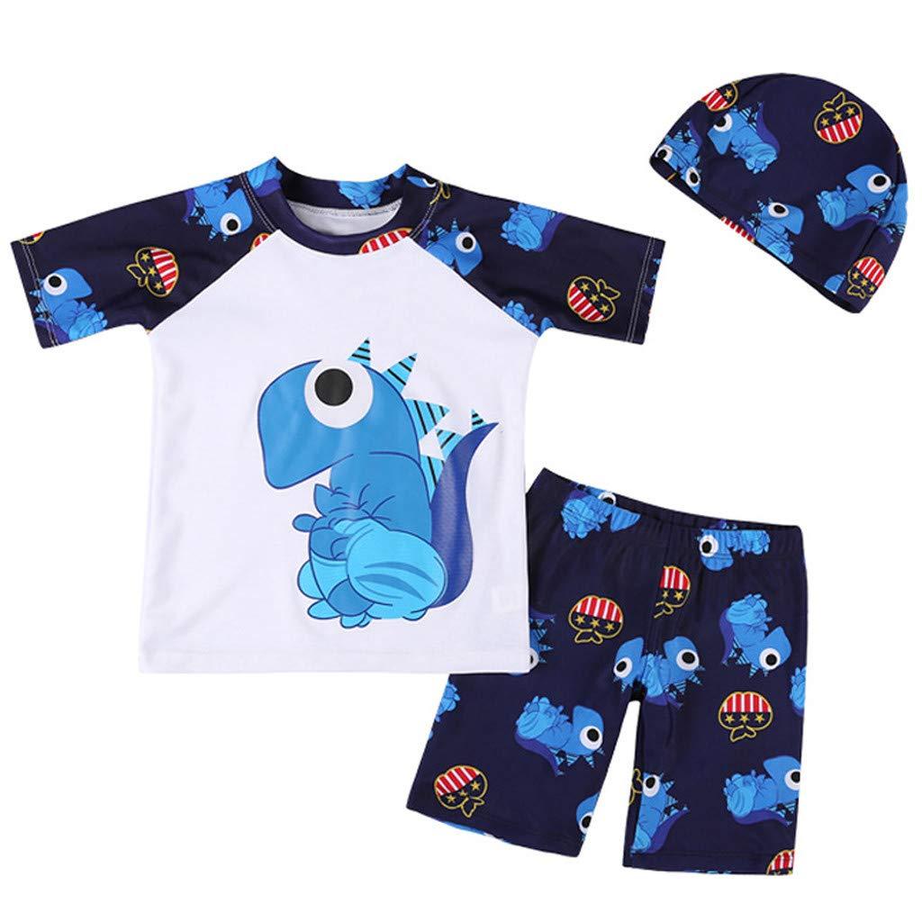 3PCS Toddler Kids Boy Swimming Suit,Vovotrade Newborn Cartoon Dinosaur Print Swimwear Short Sleeve Tops Shorts+Hat Swimming Costume 2019