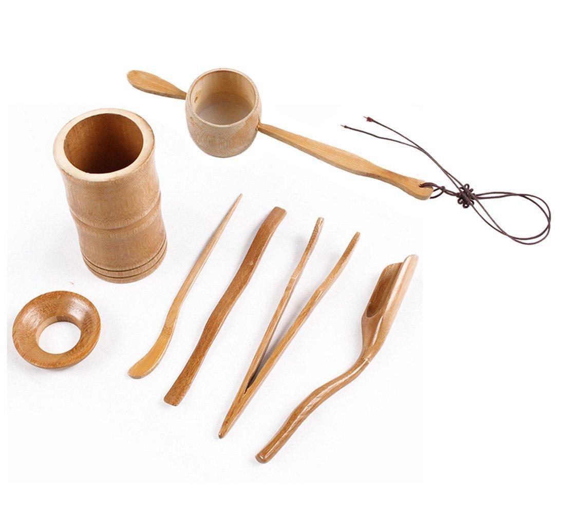 haoun 6pcs Tea Ceremony Set Chinese (Tea Tong + Teaspoon + Tea Strainers + Tea Scoop + Tea Clip + Tea Needles) haouns