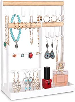 Amazon Com Haturi Jewelry Stand Organizer Earring Hanging Display Holder Stand Metal Display Tree Organizer With Storage Tray For Short Necklace Bracelet Ring White Home Improvement