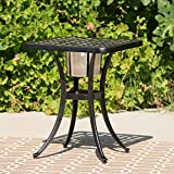 Ariel Outdoor Patina Copper Bistro Table with Ice Bucket For Sale