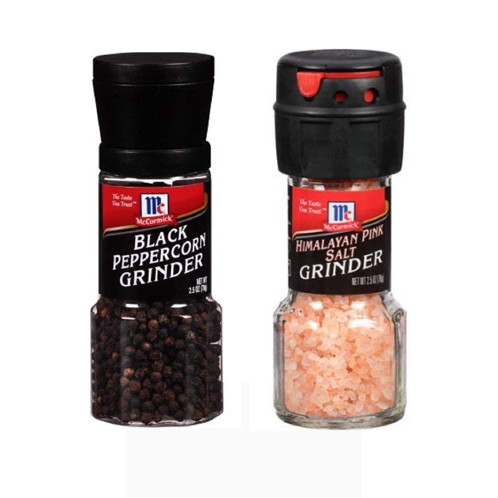 Seasoning Bundle - 2 Items: McCormicks Himalayan Pink Salt Grinder 2.5 Oz. and McCormicks Black Peppercorn Grinder 1.0 Oz