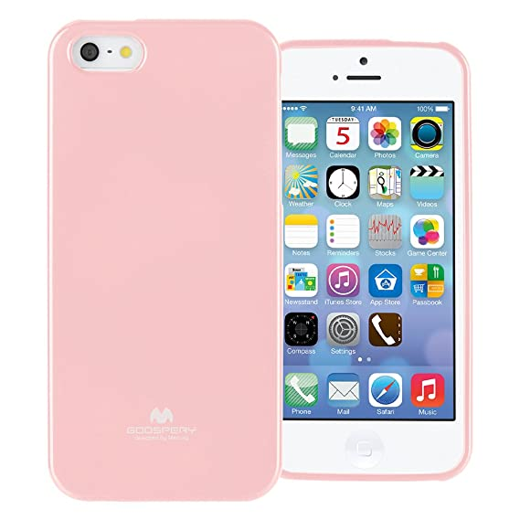 more photos 4df3d 74e2d GOOSPERY Marlang Marlang iPhone SE/5S/5 Case - Baby Pink, Free Screen  Protector [Slim Fit] TPU Case [Flexible] Pearl Jelly [Protection] Bumper  Cover ...