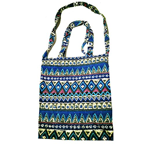 Women Shoulder Handbag Casual Folk Style Bag Large Capacity Weekend Tote Shopping Purse Mummy Diaper Bag (Folk Blue) by FANZY