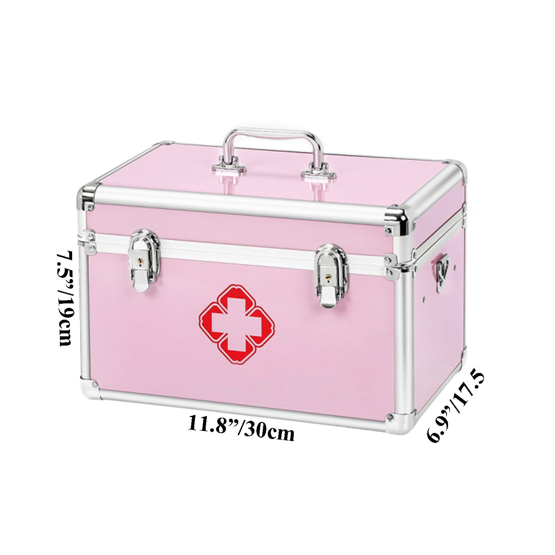 KDC 薬品収納ボックス ロック薬キャビネット ショルダーストラップ付き 医学用コンパートメント 救急箱 医療用収納ボックス 11.8×6.9×7.5インチ アルミニウム One Size ピンク  ピンク B07GWTXDV8