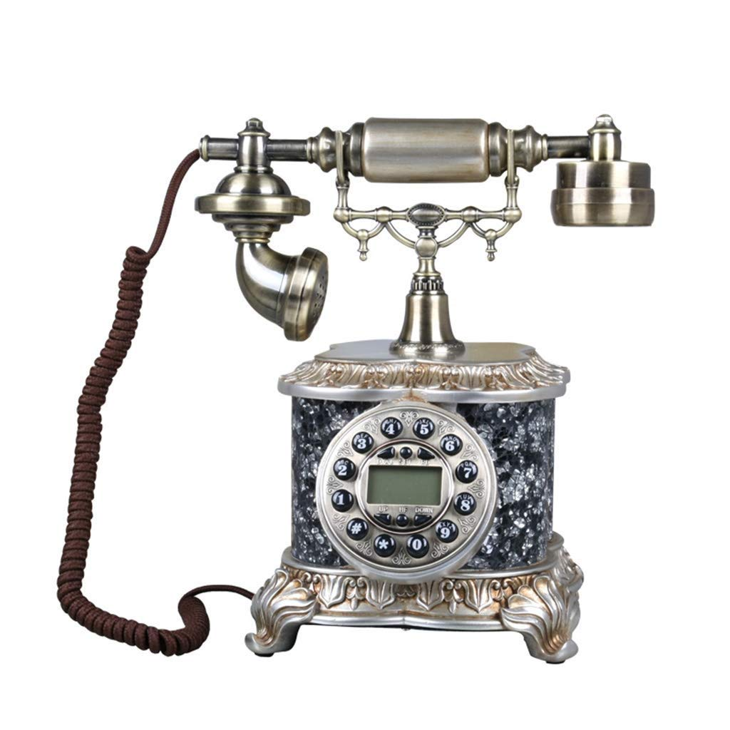 Telephones European Bronze Antique Screen Backlight Hands-Free Redial Callback Telephone Cloth Rope Silver Creative Metal Rotating Home Retro Phone (Color : A)