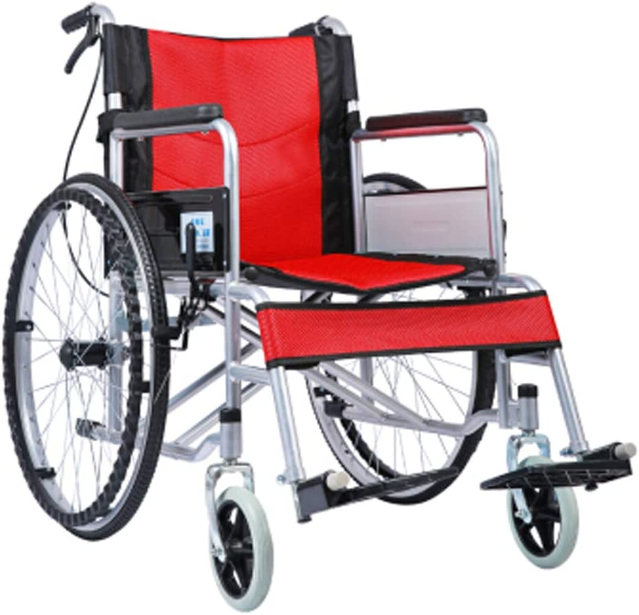 Antiguo andador plegable con mango ajustable, silla de ruedas manual, silla de ruedas ligera y vieja silla de ruedas de los antiguos caminatas, color rojo