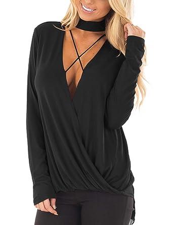 9aeb978e96 YOINS Women Blouse Choker V Neck Crossed Front Drape Surplice Long Sleeves  Top Black  XS