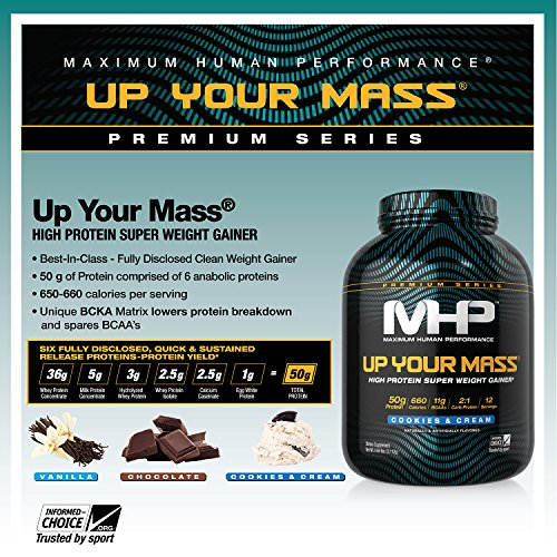 MHP Up Your Mass High Protein Super Weight Gainer, Cookies and Cream, 4.6 Pound by Maximum Human Performance (Image #6)