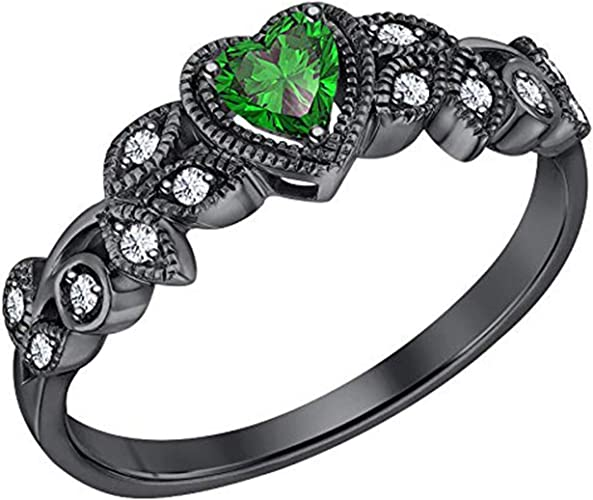 14k Black Gold Plated Simulated Diamond Studded Wedding /& Engagement Ring Jewelry