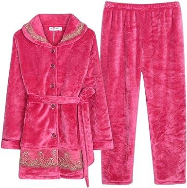 Mujer Dos Piezas Pijamas Mujer Terciopelo Grueso Caliente ...