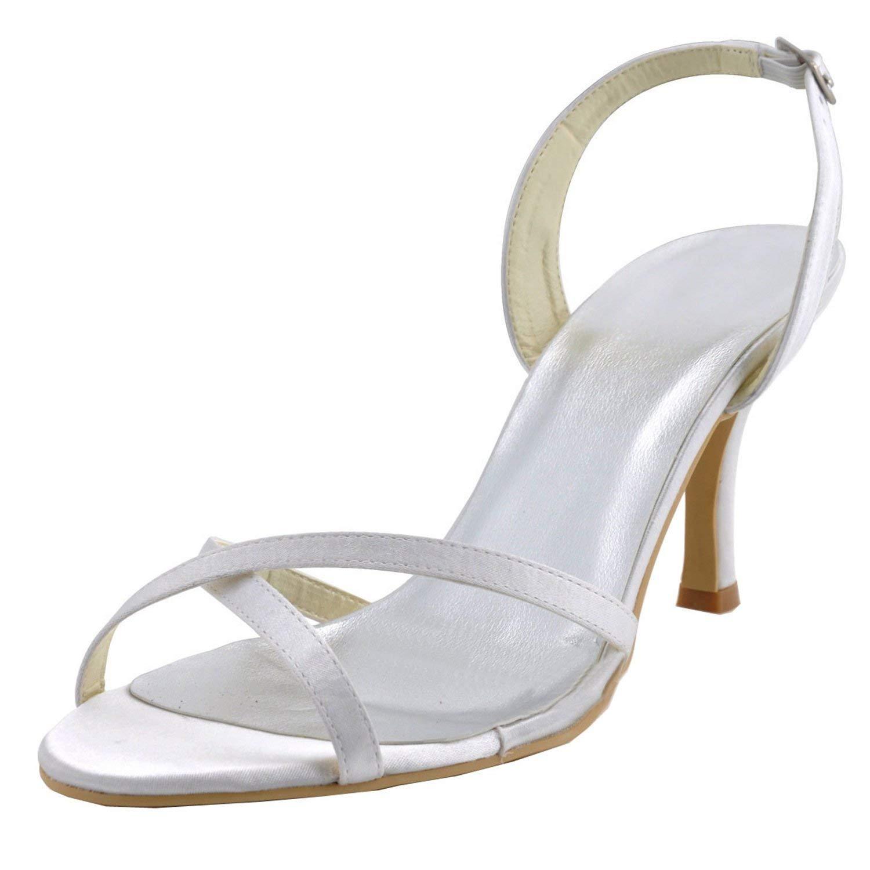 ZHRUI GYMZ628 Damen Open Toe Kitten Heel Satin Braut Hochzeit Slingback Schuhe (Farbe   Weiß-7cm Heel Größe   5 UK)