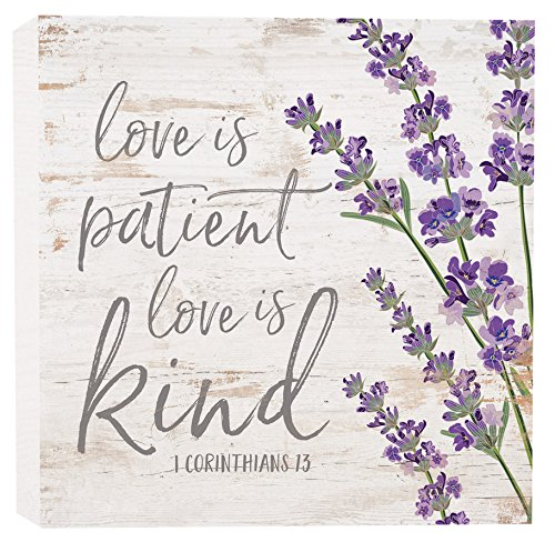 P. Graham Dunn Love is Patient Kind Floral Whitewash 5.5 x 5.5 Solid Wood Barnhouse Block -