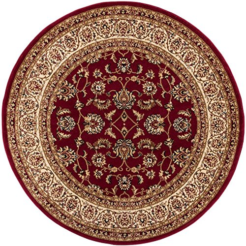 Noble Sarouk Red Persian Floral Oriental Formal Traditional 5 Round (53 Round) Area Rug Easy to Clean Stain Fade Resistant Shed Free Modern Contemporary Transitional Soft Living Dining Room Rug