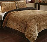 Best Comforter Set With Plushes - 3 Piece Girls Tan Brown Cheetah Print Comforter Review