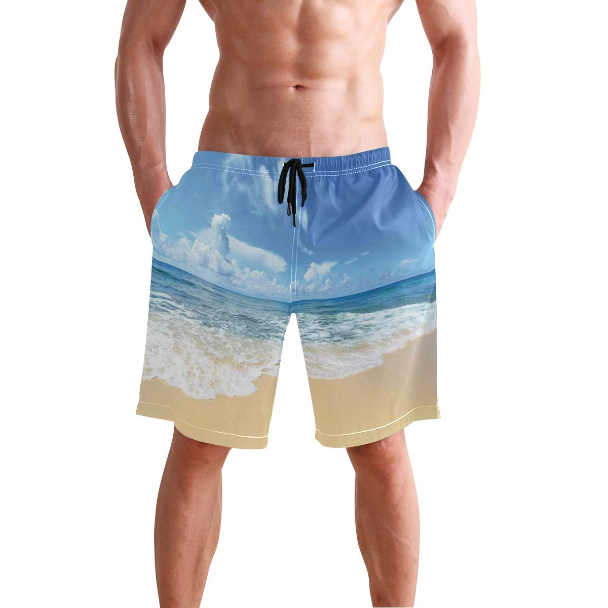 KVMV Waterfalls in The Mountain North Western Lands Calming River Scene Quick Dry Beach Shorts