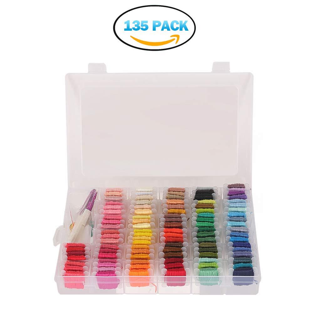 DIY Embroidery Floss 100 Color & Organizer Storage Box - Plastic Floss Bobbins 35 Pcs Cross Stitch Threads Kit - Crafts,Friendship Bracelets Floss PITAYA