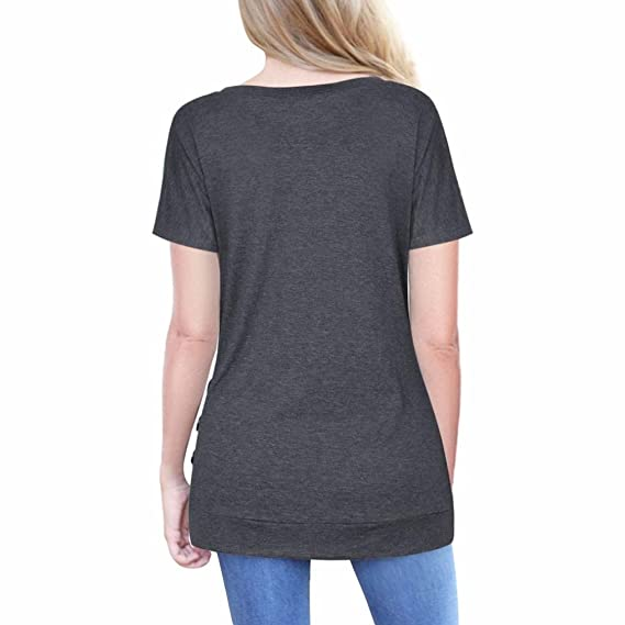 Teresamoon Loose Blouse Women Summer Button Short Sleeve Casual Top at Amazon Womens Clothing store: