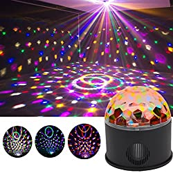Disco Ball Projector Party Lights Speaker Strobe Club lights Effect Magic Mini LED Stage Lights Wireless Phone Connection with Remote Control for Kids Birthday Gift Home KTV Xmas Wedding Show Pub by Peying Source
