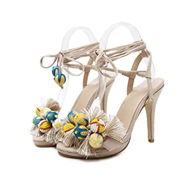 f2e27ee866fc Womens Ladies Stiletto high Heel Barely There Double Strap Buckle Party  Sandals Shoes Size (Beige
